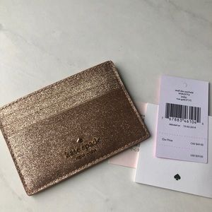 Rose gold glitter card holder